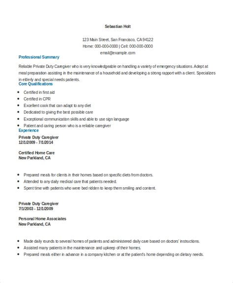 Duty Resume Sle Caregiver Resume 7 Exles In Word Pdf
