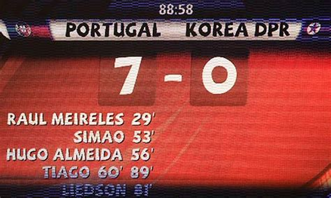 world cup scoreboard portugal 7 0 korea world cup g match report