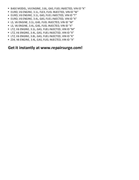 how to download repair manuals 2000 chevrolet lumina transmission control chevrolet lumina repair manual 1990 2001