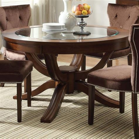 round formal dining room table acme furniture kingston 60022 round transitional formal