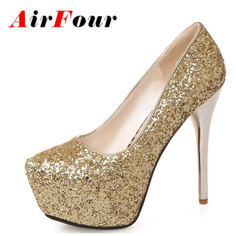 Platform High Heel Glitter Pumps airfour new fashion high heel pumps black