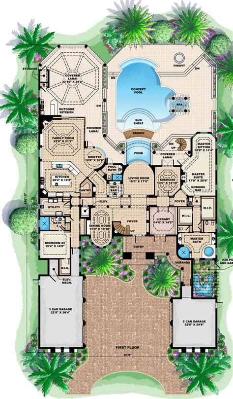 florida house plans with pool 17 best ideas about mediterranean homes plans on pinterest