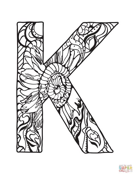 K Coloring Pages For Adults by Letter K Zentangle Coloring Page Free Printable Coloring