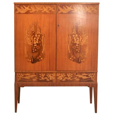 pattern old fashioned hutch swedish 1930s 1940s marquetry cabinet inlaid with bird