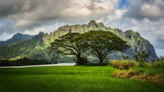 mountains trees oahu hawaii landscape clouds wallpaper - Landscaping Oahu