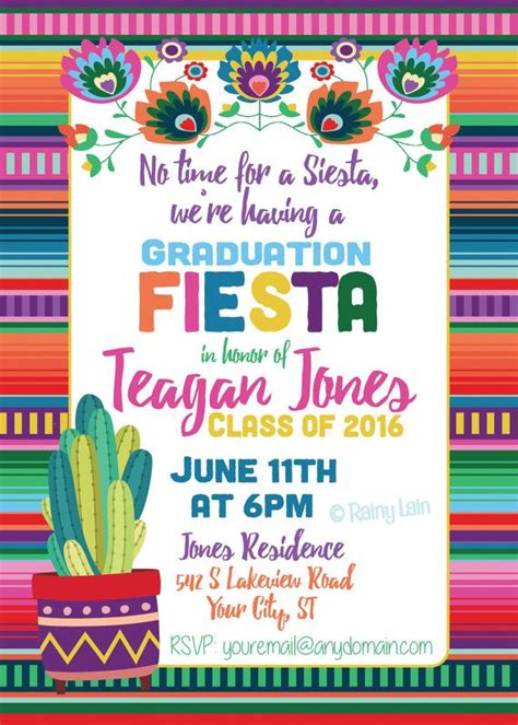 No Time For A Siesta Were Having A Graduation Fiesta Colorful Serape Blanket Digital Mexican Invitation Template