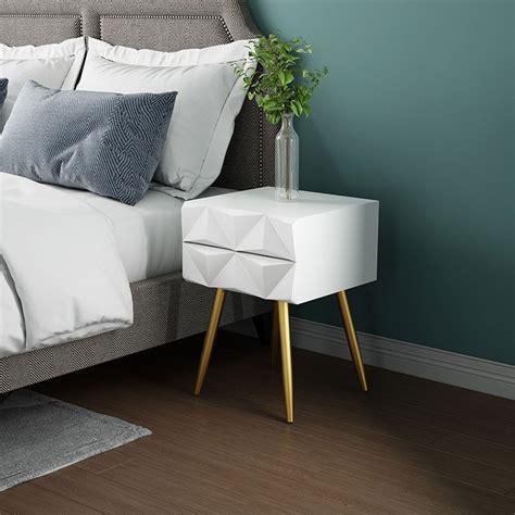 luxury modern mid century style white  gold nightstand
