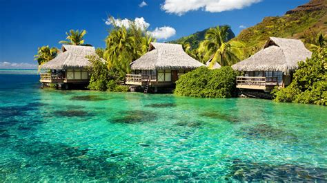 Tiki Huts On Water Hd Tiki Huts On A Hd Wallpaper