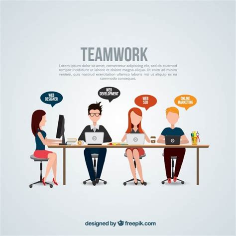 teamwork template vector free download