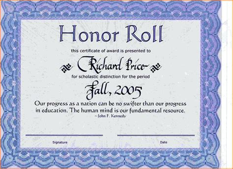 honor roll certificate template word template honor roll certificate template