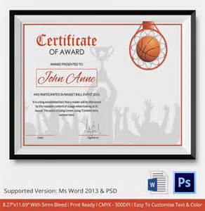 basketball award certificate templates basketball certificate template 12 free word pdf psd