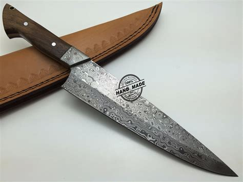 Handmade Damascus Knives - damascus kitchen knife custom handmade damascus steel kitchen
