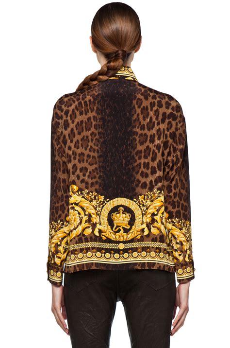 Blouse Leopard Gold 4 Versace Leopard Silk Blouse In Gold 4
