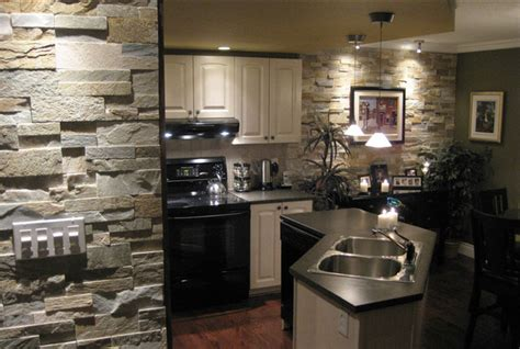 Stacked Stone Kitchen Backsplash by Open Kitchen With Natural Stone Traditional Kitchen