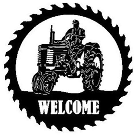 design art signs saint john schares metal works john deere tractor sawblade with man