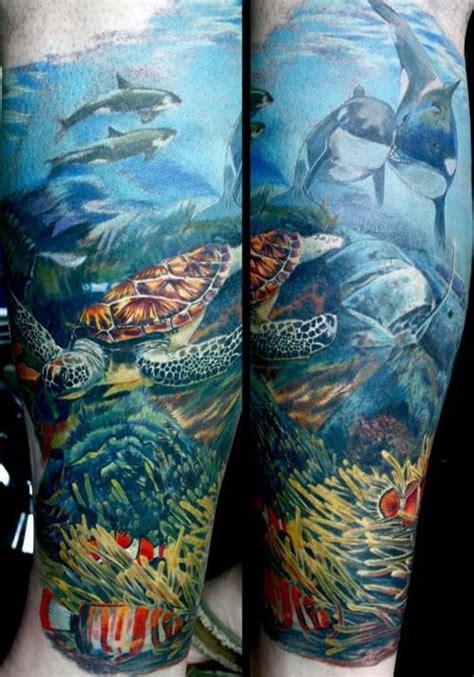 quarter sleeve ocean tattoo ocean tattoo half sleeves leg sleeve tattoos ocean