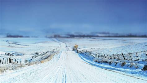 winter snow horizon depth  field road path hd