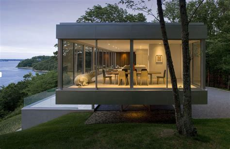 modern glass homes raised horizontal house enclosed in glass with open