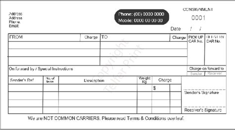 consignment receipt template consignment note dl 002