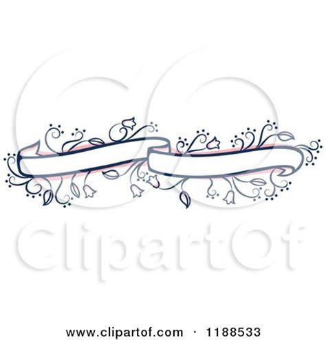 Wedding Ribbon Banner by Clipart Of A Pink And Blue Floral Wedding Ribbon Banner