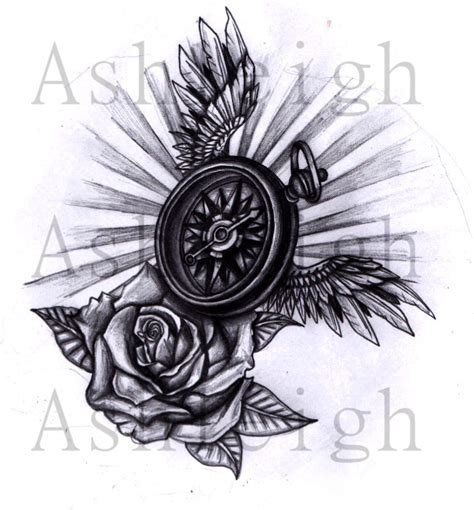 winged compass and rose by tattoosbyashleigh on deviantart