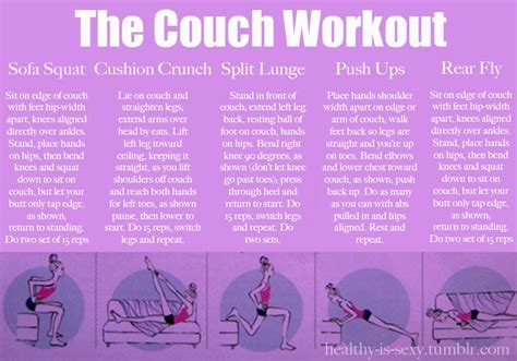 couch exercises couch workout health and fitness pinterest
