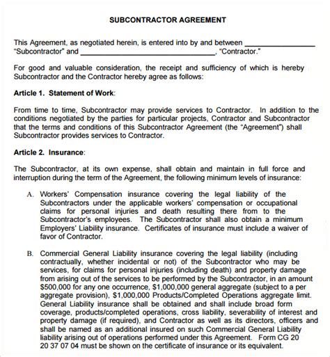 subcontracting agreement template sle subcontractor agreement 10 free documents