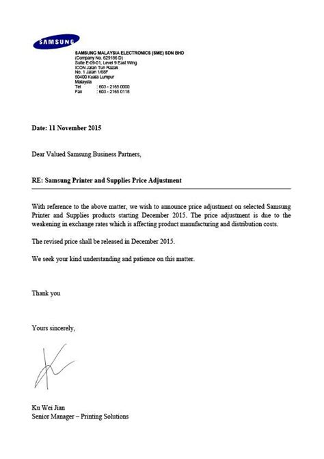 business letter notice of price increase sun master fancy paper sdn bhd in selangor malaysia