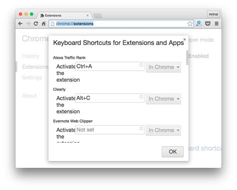 chrome keyboard shortcuts hide unhide extension icons from chrome toolbar