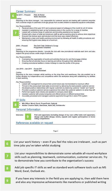 Cv Sles For High School Leavers School Leaver Cv Exle With Writing Guide And Cv Template