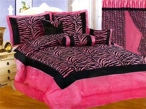 pink and black zebra comforter set 11 pc satin pink black flocking zebra pattern