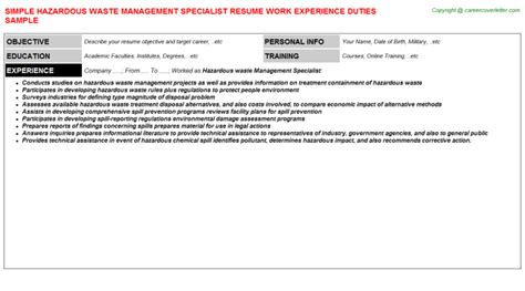 Hazardous Materials Specialist Cover Letter by Hazardous Waste Management Specialist Resume Sle