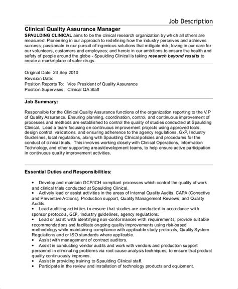 Call Center Quality Analyst Description by Sle Quality Assurance Description 10 Exles In