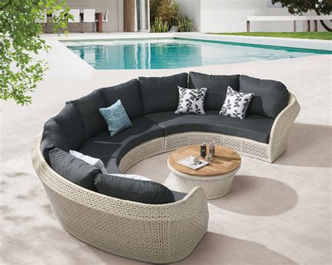 Curved Sofa Set Evian Modern Outdoor Curved 6 Seater Sofa Set With Coffee Table