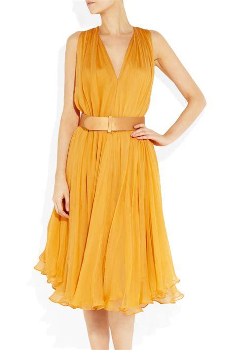 Yellow Silk Dress 31033 mcqueen belted silk chiffon dress in yellow lyst
