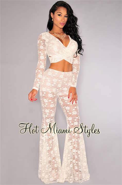 Flower Lace And Bottom Bell Set white lace bell bottoms two set