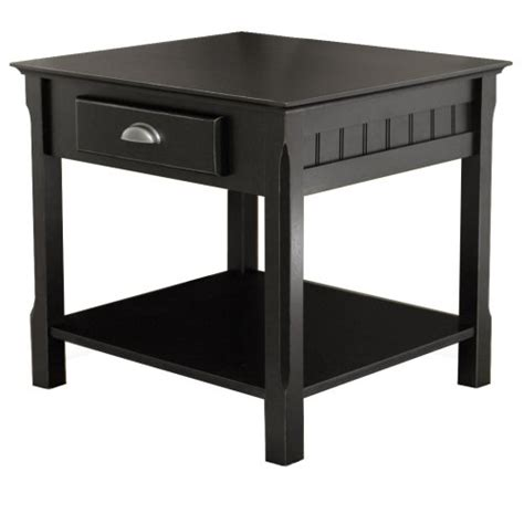 black end table with drawer winsome wood end table with drawer and shelf black