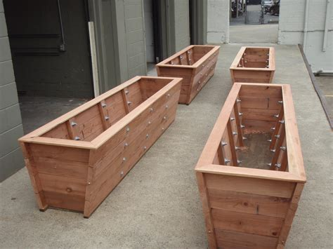 Make Planter Boxes by Large Redwood Planter Boxes Made For Bamboo Trick