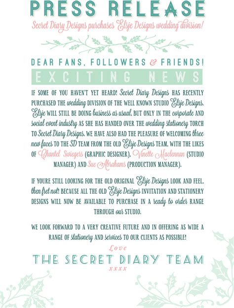 Press Release Invitation Letter Wedding Invitations Wedding Stationery South Africa Secret Diary Press Release Secret
