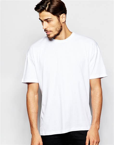 adpt dpt t shirt with drop shoulder in white for lyst