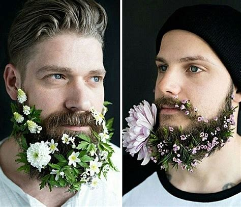Flowers In Their Men With Beards | latest trend men with flowers in their beards bored panda