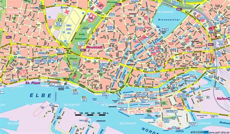 hamburg karte map of hamburg center germany map in the atlas of the