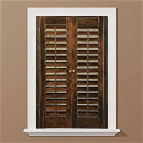 wooden shutters interior home depot homebasics plantation walnut real wood interior shutter