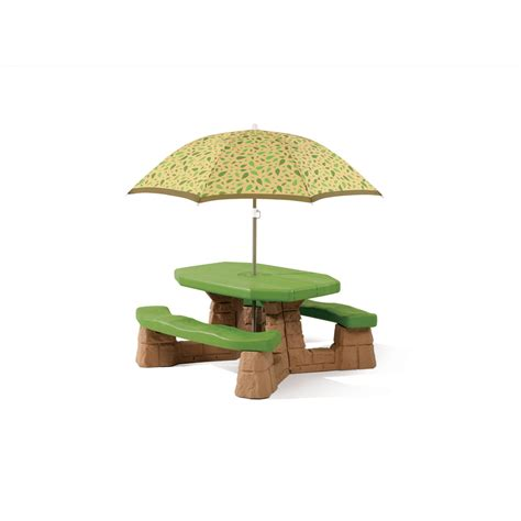 Step 2 Umbrella For Picnic Table Shop Step2 Naturally Playful Picnic Table With Umbrella At
