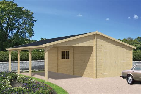 log garage with carport berggren