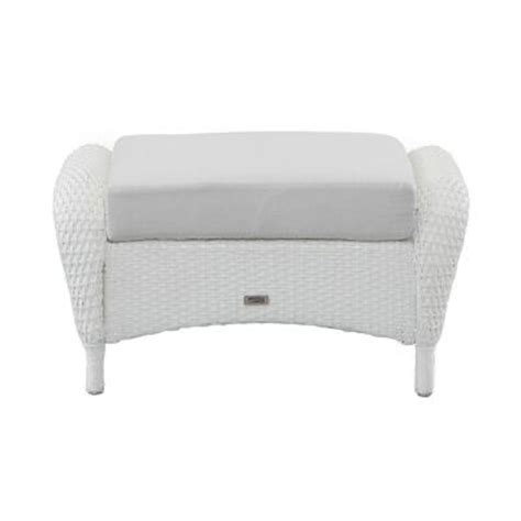 white wicker ottoman martha stewart living charlottetown white all weather