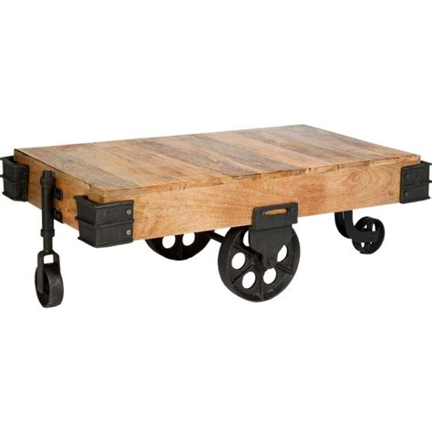 Industrial Collection Coffee Table In Iron Natural Industrial Wheeled Coffee Table