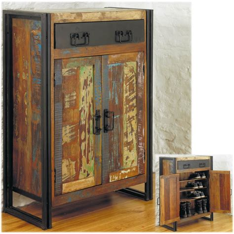 Hallway Shoe Storage Cabinet Agra Solid Reclaimed Wood Hallway Shoe Storage Cabinet Cupboard Ebay
