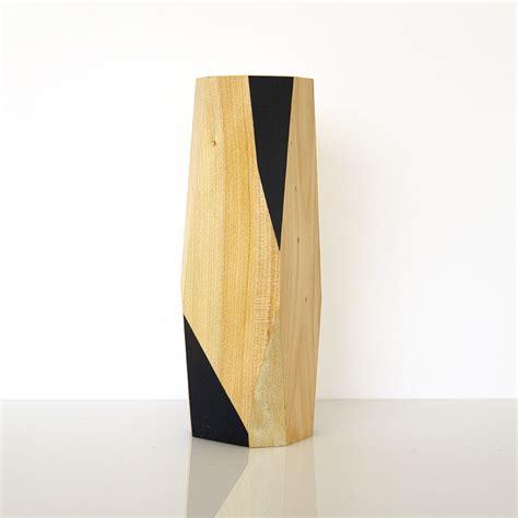geometric wooden vase large felt