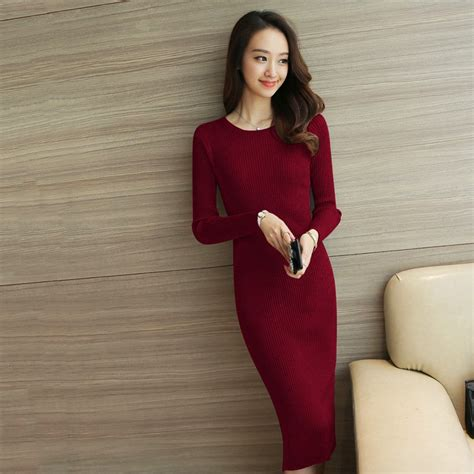 shakeela dress gaun rajut bodycon tangan panjang